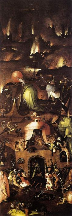 """El Infierno, Postigo derecho del tríptico """"El Juicio Final""""; Óleo sobre tabla, 167x60cm. Academia de Bellas Artes de Viena."""