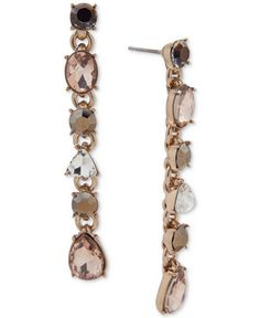 Givenchy Gold-Tone Stone & Crystal Linear Drop Earrings