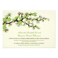 Cherry Blossoms Wedding Invitation (apple green) #weddings #weddinginvitatins #greencolorscheme