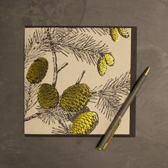 Golden Fir Cone' Greetings Card by Jen Rowland 3.00