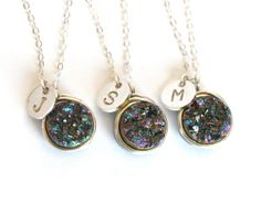 Mystic Rainbow Druzy Personalized Initial Necklaces Wedding Bridesmaid Gifts