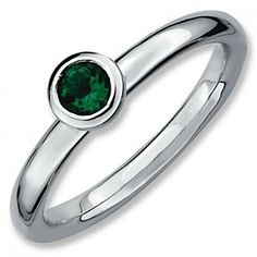 Sterling Silver Low 4Mm Round Emerald Ring # Free Stud Earrings by JewelryHub on Opensky