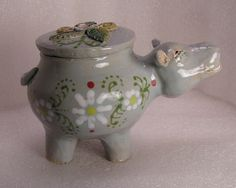 Happy The Hippo Folk Pot – Animal Face Jug – Spice Jar – Effigy Jar | eBay