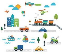 Transportation and City Scene Kids' Room Peel and Stick Wall Sticker Decals - Amazon.com
