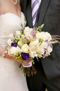 pretty purple and cream bride's bouquet, elegant purple fall wedding