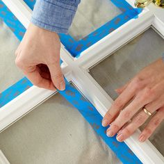 Apply a tape border around the glass panes
