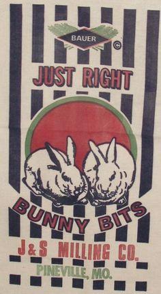 bunny rabbit feedsack feed sack grain sack fabric by BoxcarGallery, $9.00