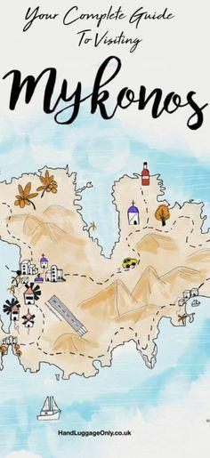 Mykonos Town Map Mykonos Greece mappery Cruisin Pinterest