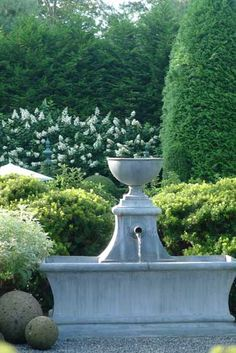 and state: Creating Garden Sanctuaries: Water Feature- the farther the water falls, the louder it sounds Garden Urns, Garden Fountains, Outdoor Fountains, Water Fountains, Water Features In The Garden, Garden Features, Formal Gardens, Outdoor Gardens, Landscape Design