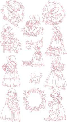 Set of Twelve 5X7 SunBonnet Girls Redwork Machine