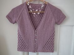 Free pattern... A little summer cardigan. A simple top down raglan with a 4 stitch, 4 row honeycomb eyelet pattern that starts at the neck, follows the raglan shaping and carries on around to the fronts.