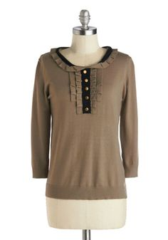Miss Genealogy Sweater - Brown, Black, Buttons, Peter Pan Collar, Casual, 3/4 Sleeve, Knit, Mid-length