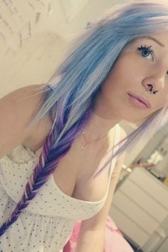 Uploaded by Pretty Pastel Clouds. Find images and videos about girl, hair and grunge on We Heart It - the app to get lost in what you love. Bright Hair Colors, New Hair Colors, Colorful Hair, Pastel Clouds, Crazy Hair, Pretty Pastel, Dreadlocks, Septum Piercings, Hair Styles