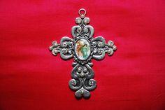 """Croix murale """"angélique"""" : croix métal strass perles cabochon verre image anges pailletée argent : Autres bijoux par lericheattirail"""