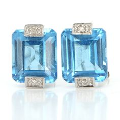Estate 14 Karat White Gold Blue Topaz Diamond Cocktail Earrings Fine Jewelry $595