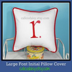 LARGE FONT  Initial It Letter Pillow Cover  Initial by calicodaisy, $30.00