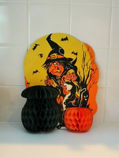 Vtg. Halloween Paper Witch Honeycomb Tissue Decoration Cauldron Pumpkin
