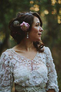 1f671f578f A Vintage Edwardian Crochet Dress For A Californian Wedding in the Woods