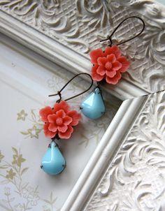 Amelie, Bright Coral Sakura Flower and Vintage Opaque Soft Blue Aqua Pear Dangle Earrings, Marolsha, $21.50, etsy