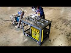 The Strong Hand Rhino Cart offers a mobile welding table with clamps and fixtures. Precision machined top for precise setup and consistent results. Welding Table Diy, Welding Cart, Welding Rods, Metal Welding, Welding Bench, Strong Hand Tools, Mobile Welding, Welding Design, Welding And Fabrication