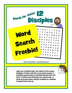 Help your students learn the names of the twelve disciples of Christ with this word search puzzle. A printable puzzle sheet is included (choose from full color or black-and-white) plus an answer keya quick and easy lesson activity! Suitable for students in grade three and up.Thanks for taking a look at my product.