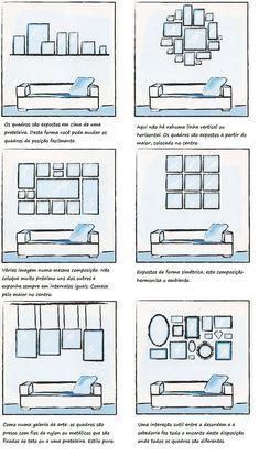 uma ideia de como dispor os quadros na tua parede!