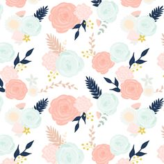 Custom summer blooms on white with navy fabric by mintpeony on Spoonflower - custom fabric