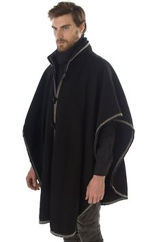 Rounded Wool Cape with Trim