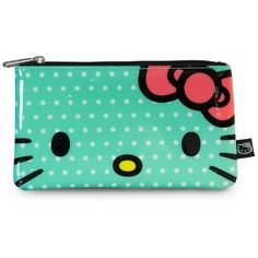 Hello Kitty Green/White Polka Dot Pencil Case ($9) ❤ liked on Polyvore featuring home, home decor, office accessories, plastic pencil pouch, hello kitty pencil case, plastic pencil cases, hello kitty pencil pouch and hello kitty