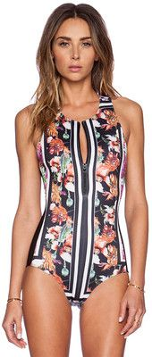 Clover Canyon Floral Scarf Print Zip Up Swimsuit Swimwear