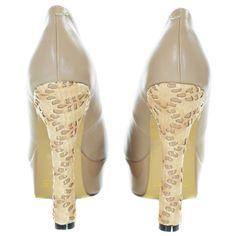 Beige Textured Pattern Pump Heels | Sexyback Boutique