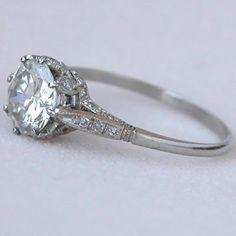 Platinum 1.38ct Diamond Edwardian Style Antique Engagement Ring