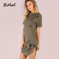 Find More Dresses Information about ROMWE Distressed Grungy Splatter Curved Tee Dress 2018 Ripped Army Green Shift Round Neck Dress Short Sleeve Short Dress,High Quality neck dress,China short dress Suppliers, Cheap dresses short from ROMWE Official Store on Aliexpress.com