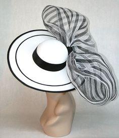 New Vinzetta Millinery Kentucky Derby Hat Fascinator Black White Wide Brim | eBay