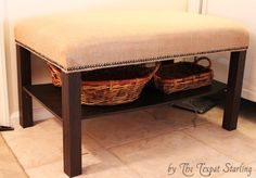 Farmhouse-Style Bench [Lack coffee table - ikea].  I'll have to do this after I get a better coffee table.