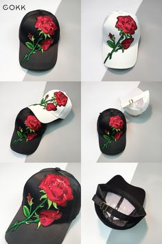 91f2a21f691  Visit to Buy  COKK Women s Cap Red Rose Flower Summer Snapback Dad Hat For