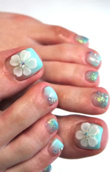 Baby Blue Pedi with acrylic Nails 3d Acrylic Nails, Toe Nail Art, Hair And Nails, My Nails, Nail Lacquer, Feet Nails, Neutral Nails, Flower Nail Art, Toe Nail Designs