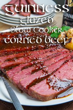 Guinness Glazed Slow Cooker Corned Beef--I struggled to get the sauce to thicken. I ended up changing the recipe so I only used 2 cups of liquid from the crockpot to make the glaze. Slow Cooker Corned Beef, Crock Pot Slow Cooker, Crock Pot Cooking, Slow Cooker Recipes, Crockpot Recipes, Cooking Recipes, Cooking 101, Homemade Corned Beef, Corned Beef Recipes