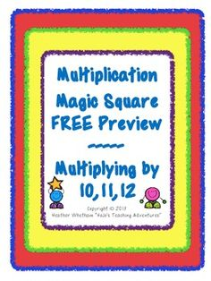 Multiplication Magic Squares Preview - FREE. This is so cute and such a great way for students to practice their facts. Fun and challenging!