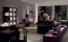 Luxurious Penthouse Living Room Interior with Elegant Dark Sofa and Deep Wood Brown Wall Units and Shelves