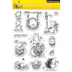 Penny Black Clear Stamp Set, Garden Friends: These clear stamps are easy to use with any acrylic block (not included), and feature high- quality and affordable value. Each package contains one by sheet of clear stamps. Penny Black Karten, Penny Black Cards, Simply Stamps, Black Garden, Art Impressions, Ink Stamps, Craft Stamps, Arts And Crafts Supplies, Amazon Art