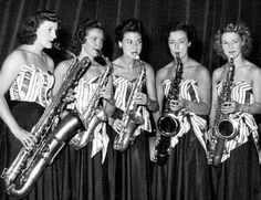 Members of Ivy Benson's All Girl Band. Edna Wayne, Eunice Cox, Norma Cameron, Irene Boynton and Lena Kidd. Swing Era, Saxophone Players, Cool Jazz, Duke Ellington, Jazz Club, Women In Music, Girl Bands, Songs, Female Fashion