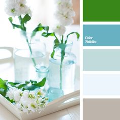 aqua, blue shades, blue-gray, brown, brown gray, color palette for interior, color palette for wedding, color solution for living room, dark-blue, green, hot green, pale blue.