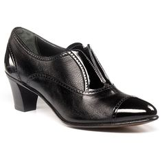 Crafted of black calf with a patent leather cap toe, tongue and heel, this shootie has the tailored look of an oxford shoe with the ease of a slip-on pump. Wear them with trouser socks and gabardine pants, or pair them with sheer hosiery and skirts or dresses.