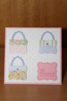 Curly Label punch used for the purses and looks like the Scallop Oval and Oval punches for the handles. I wonder of these could be done with Labels One Dies? Scrapbooking, Scrapbook Cards, Punch Art Cards, Paper Punch, Candy Cards, Friendship Cards, Card Kit, Kids Cards, Creative Cards