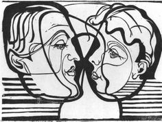 Two Heads Looking at Each Other - Ernst Ludwig Kirchner, 1930