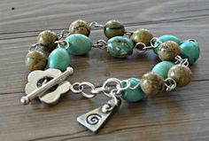 Turquoise Howlite and Yellow Verdite sterling by dooglelinhk