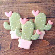 New cookies decoradas cactus 38 ideas Iced Cookies, Cute Cookies, Royal Icing Cookies, Cupcake Cookies, Sugar Cookies, Cupcakes Succulents, Kaktus Cupcakes, Cactus Cake, Llama Birthday