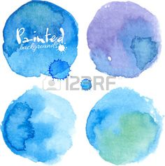 Bright blue watercolor painted stains set