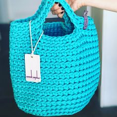 Crochet tote bag. Teal colour.